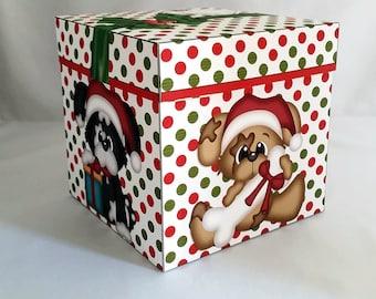 Digital Printable Doggy Christmas Gift Box -Dog - Puppy - Santa Paws - Dog Treat Box