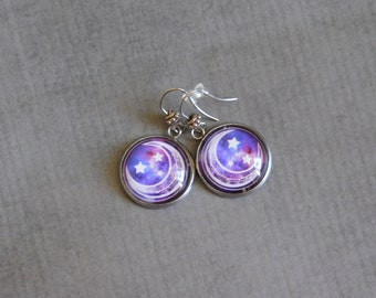 Purple Moon Earrings : Crescent Image Jewelry