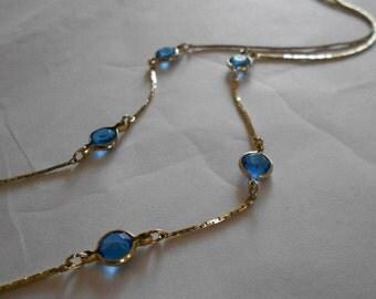 Swarovsky crystal necklace.  Blue crystal. Vintage.  Retro.