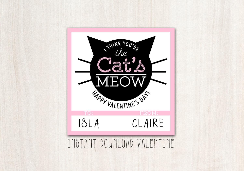 Kitty Cat Valentines - DIY Print - INSTANT DOWNLOAD