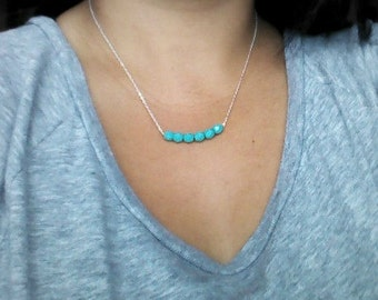 Teal Bar Necklace | Beaded Necklace | Sterling Silver | Gift For Her | Bar Necklace |