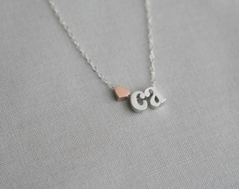 Personalized Heart Initial Necklace | Two Initial Necklace | Mom Initial Necklace | Silver Initial Necklace | Monogram Necklace