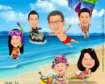 Family Caricatures vacation theme