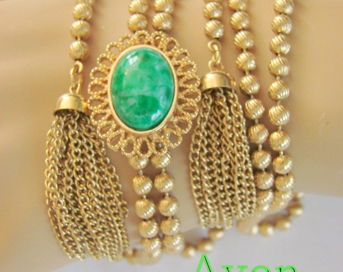 Vintage Avon Bolo Tassel Necklace Green Glass Cabochon Goldtone Designer Signed Jewelry Jewellery