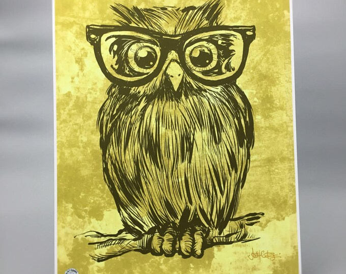 """Featured listing image: Adorable Owl with Glasses Art Print """"Spectacle Owl"""""""