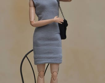 MADE TO ORDER --- Gray Mock-Turtleneck Bodycon Dress Version 2.0 for 11.5-inch to 12-inch Fashion Dolls