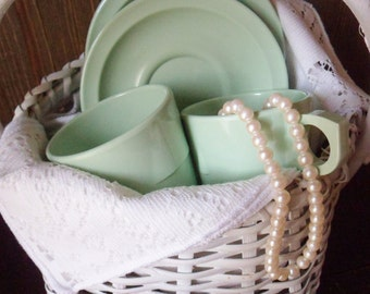 Four Jadeite Green Staking Cups and Four Saucers, Eight Piece Prolon Ware Set