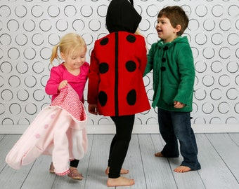 Children's Character Coats in Fleece, Wool or Lightweight Cotton Twill. Dinosaur, Ladybug, Bunny and more, Wild & Woolly