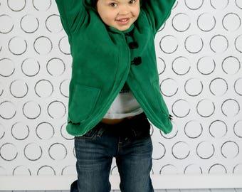 Green Dinosaur Coat, Boys or Girls Fleece or Wool Winter Coat, Childrens Jacket, Lightweight Spring Jacket, Fall Coat, Wild & Woolly