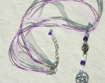 Purple Peace Gemstone Pentagram Ribbon Necklace