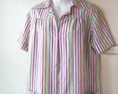 Fun, Fresh Multicolor Stripe Vintage Housecoat; Women's Large~Cotton Blend Circus Stripe Robe; Free Shipping/U.S.
