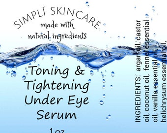 Tightening and Toning Under Eye Serum (Argan Oil, Fennel, Helichrysum Immortelle) For wrinkles, bags, and puffiness Roll-on Bottle