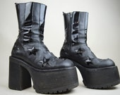 RESERVED 90s Grunge Rare Buffalo Black Leather Patent Stars Huge Platform Boots Uk 5.5 / Us 8 / Eu 38.5