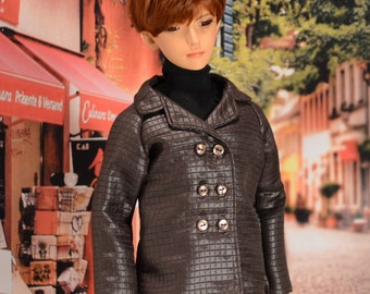 Brown Quilted-look Peacoat Jacket for SD BJD