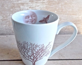 Moon Mug, DISCOUNTED SECOND, Trees Moth, Autumn, Winter, Bare Trees, Full Moon, Man in Moon, Wintry Night Coffee Cup, Large, Woodland Forest