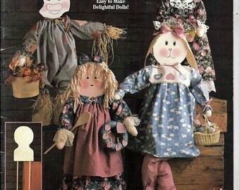 "Dress A Doll Wood & Cloth 30"" Dolls Suzanne McNeill Design Originals Craft Pattern Book 2283"