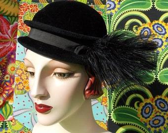 60's Mod Double Brim Bowler . Vintage Raven Black Plush Fur Felt Hat . Feather Pom Accent . Neiman Marcus . Danelle Exclusive designer .