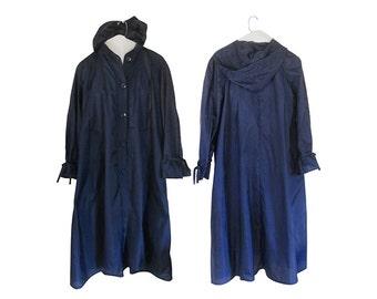 Vintage Women Rain Coat Women Raincoat Spring Coat Light Coat Long Coat Blue Coat Hooded Coat Women Coat Swing Coat