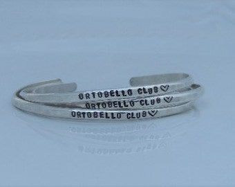 Mantra Bracelet - Engraved Cuff Bracelet - Personalized Cuff Bracelet -  Hand Stamped - Sterling Silver Cuff - Hammered Bracelet