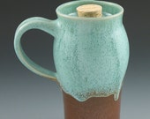 Travel Mug Handmade Ceramic in Aqua and Rust