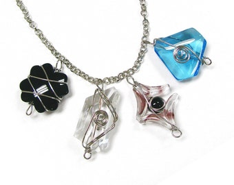"Wired Glass Pendant / Size around 1 to 1.5"" / 4 Styles available /  2 pcs  per Unit (same style)"