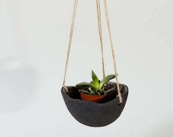 Modern Black Planter Ceramic Hanging Planter ~Textured Ceramics Ceramic Planter Ceramic Plant Pot Hanging Plant Pot Modern Ceramic Sculpture