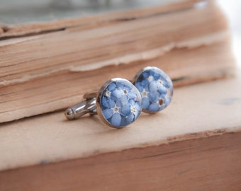 Forget-me-not Flowers Cufflinks - Real flowers jewelry - Unique women cufflinks - blue cuff links for ladies