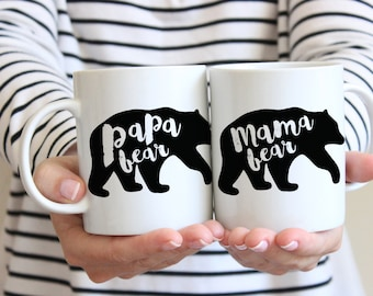 Mama and Papa Bear Mugs, Dad Mug, Papa Bear, Mama Bear Mug, Pregnancy Announcement, Mama Bear, Mug, New Mom and Dad Gift, New Parents Gift