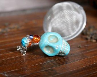 Turquoise Howlite Stone Skull Beaded Mesh Tea Ball Infuser