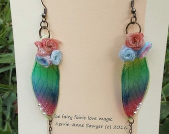 rainbow fairie fairy wings  earrings