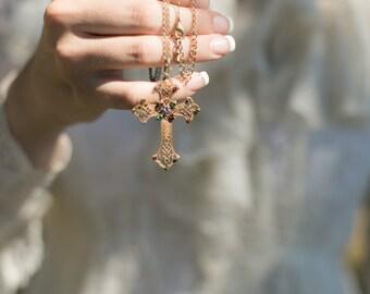 Antique Jeweled Cross. Ruby, Safire, Emerald. // renaissance., Goth., Steam Punk Jewelry.