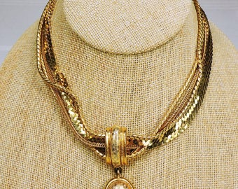 vintage choker necklace, multi strand, made by Monet