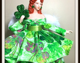 Christmas Angel Tree Topper, OOAK Irish Inspired Red Haired Angel, Tree Top for the Holidays in Shamrock Gown, Porcelain Angel, Handmade