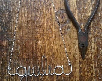 Sterling Silver Personalized Necklace, Wire Name Necklace, Personalized Name Jewelry, Custom Wire Name