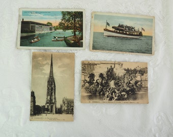 Antique Lithograph Postcards- Set of Four- Two Colorized postcards- Paris, Cape May, World War II- 1930's- One Cent Stamp- Vintage Military