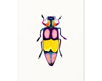 Beetle Art Print. Colorful Insect Art.  Bright Bold Kids Room Decor.  Watercolor Bug.  Beetle Watercolor Art Print.  Boys Room Art Print.
