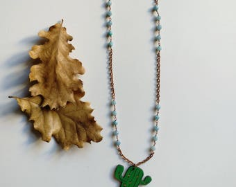 Cactus necklace Wire wrapping necklace Sundance style necklace Cactus jewelry Chanel inspired necklace