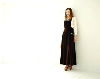 Vintage brown velvet jumper maxi dress pinafore, 1970s boho velveteen S M