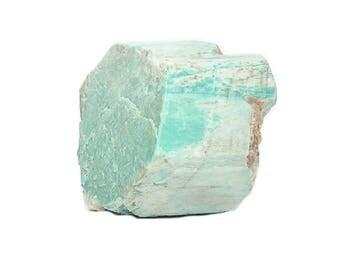 Amazonite Crystal Cluster Crystal Peak Colorado, Aqua Blue with white Stripe Microcline Feldspar Semiprecious Stone Display Mineral Specimen