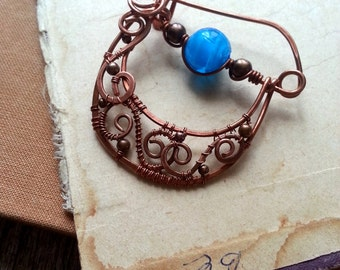 Blue Filigree Shawl pin, Scarf pin Handmade Copper sweater pin or fibula in swirly design with stones, copper brooch