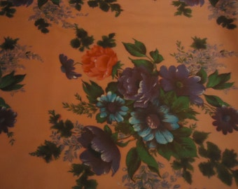 Vintage Polyester Flowers in Water Color Fabric Material