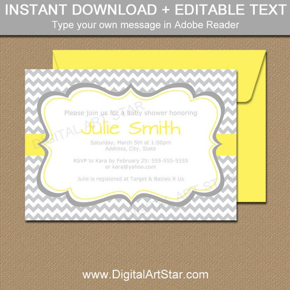 Gender neutral baby shower invitation template yellow and gray baby il570xn filmwisefo