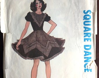 """1970's Authentic Square Dance Dress with Double Skirt pattern - Bust 30-32"""" - No. 309"""