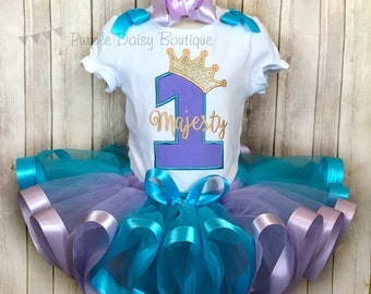 Princess Crown First Birthday Tutu Outfit - Princess First Birthday - Princess Party - Ribbon Trimmed Tutu - Ribbon Trim Tutu - Any Number