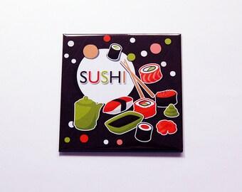 Sushi Magnet, Kitchen Magnet, Fridge magnet, Food Magnet, Sushi Lover, Brown, Orange, Green, sushi (7180)