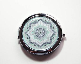 Green Mosaic compact mirror, green, mirror, purse mirror, compact, Pocket mirror, gift for her, gift for mom, pale green, mosaic (7608)