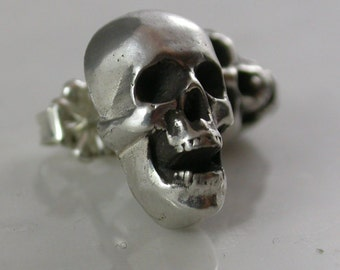 Skull Stud Earrings, Open Mouth