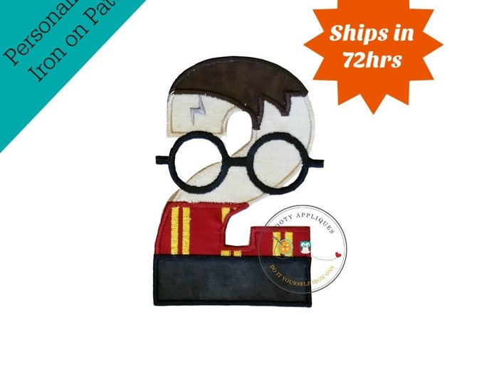 Boy Wizard birthday number 2 inspired by Harry Potter machine embroidered fabric iron on no sew patch,  Barn yard patch for kids clothing