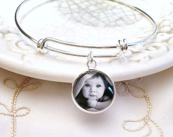 Photo Charm Bangle Bracelet Picture Bracelet Gift for Mother Photo Gift for Grandmother Birthstone Jewelry New Mom Wife Gift Stainless Steel