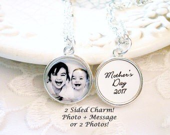 Photo Charm Necklace Signature Charm Personal Handwriting Message Mom Gift for Wife Pet Memory Picture Charm Gift for Child Mother Jewelry